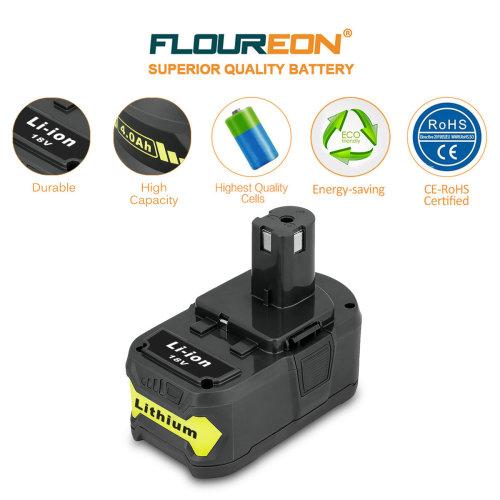 FLOUREON P108 RB18L40 Lithium Ion High Capacity for Ryobi 18V Battery 4A