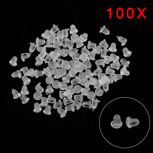 100 Pcs Plastic Earring Backs Stoppers Ear Nuts 5mm x 5mm J00347 UK