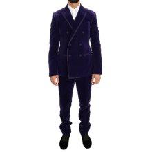 Dolce & Gabbana Purple Velvet Slim Fit Double Breasted Suit