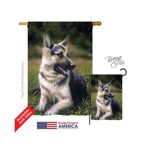 Breeze Decor 10051 Pets German Shepherd 2-Sided Vertical Impression House Flag - 28 x 40 in.