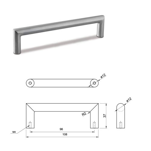 SMALL DOOR PULL HANDLE Stainless Steel C Bar Straight Bolt Fixing 96mm Pack of 10