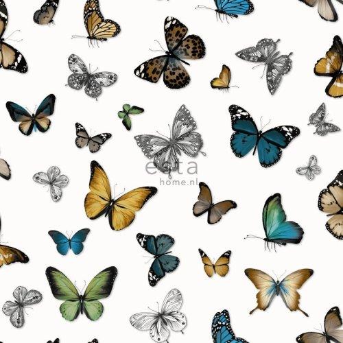 HD non-woven wallpaper butterflies ochre yellow, green and brown