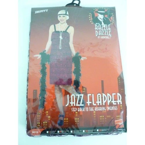 Jazz Flapper Costume, Burgundy, With Dress And Headpiece -  flapper costume dress jazz fancy ladies 20s 1920s womens outfit charleston gatsby adult