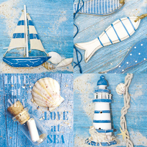 Ambiente 3 Ply Paper Lunch Napkins, Love At Sea