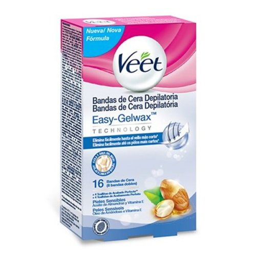 Veet Sensitive Hair Removing Wax Strips for Underarms and Bikinis (Pack of 16)