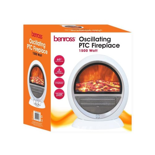PTC Ceramic Oscillating Fireplace Flame Effect Heater, 1500 W, White