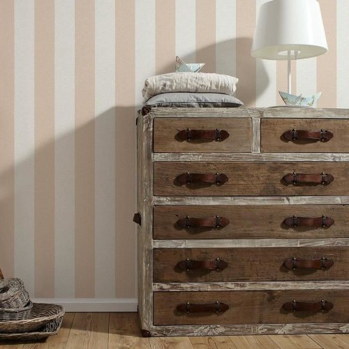 NEW AS CREATION LIBERTE STRIPED PATTERN PASTEL COLOUR TEXTURED WALLPAPER ROLL[PEACH 314062]