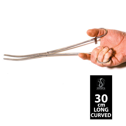 Serpentia Snake/Reptile Lockable Feeding Tongs (Hemostats) - 30cm Curved Tip