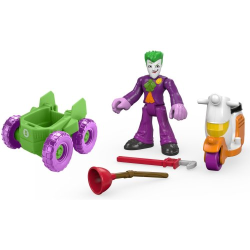 Fisher Price - DRY70 - Batman Toy - Imaginext DC Comics - Joker Figure - Car - Scooter - Vehicle Deluxe Set