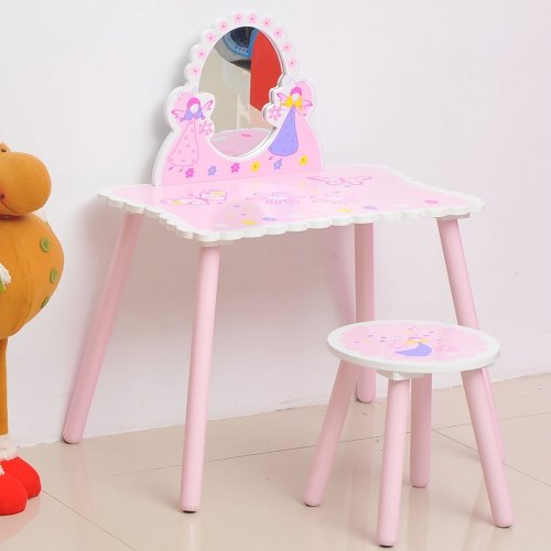 Homcom Girls Pink Wooden Dressing Table & Stool Make Up Desk Chair Fairy Dresser Play Set W/ Mirror