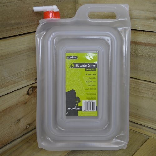 Summit Expandable Space Saving 15L Water Carrier with Tap for Camping / Caravan