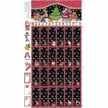 Christmas Advent Calendar 100% Cotton Quilting Panel Fabric