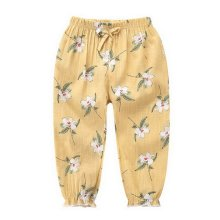 Comfortable Soft Children's Trousers, Light Yellow And Flowers