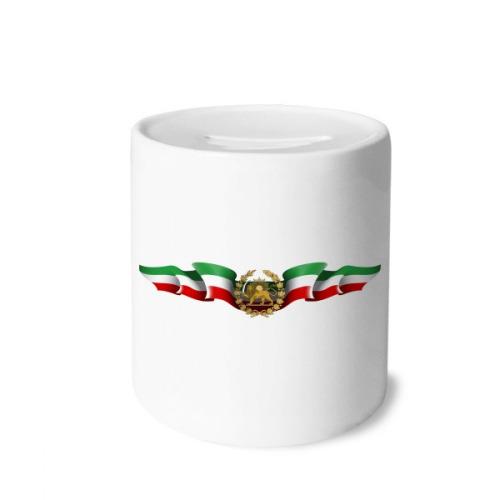 Iran Persia National Emblem Lion Sun Money Box Saving Banks Ceramic Coin Case Kids Adults