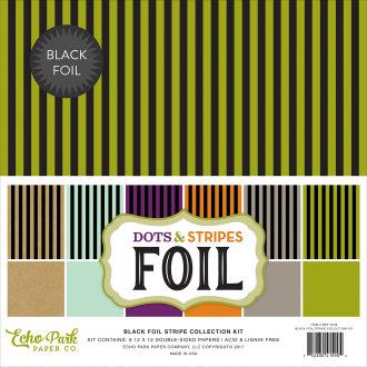 """Echo Park Double-Sided Collection Pack 12""""X12"""" 6/Pkg-Dots/Stripes - Stripe W/Black Foil"""