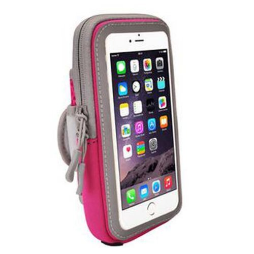 Wrist Pack Outdoor Sport Armband Cell Phone Armband Fashion Arm Package,Rose Red