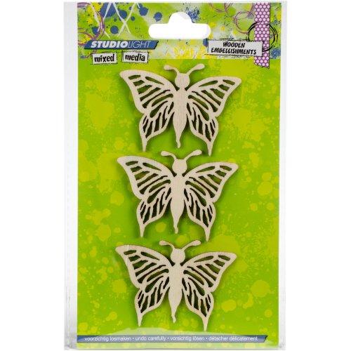Studio Light Mixed Media Wooden Laser Ornaments-Butterflies