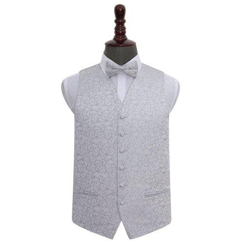 Silver Swirl Wedding Waistcoat & Bow Tie Set 44'