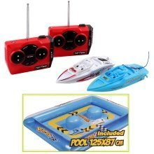 RC MINI Racing Boats with Inflatable Obstacles Pool Included - Set of 2 Boats *Blue 27Mhz / White 40Mhz*