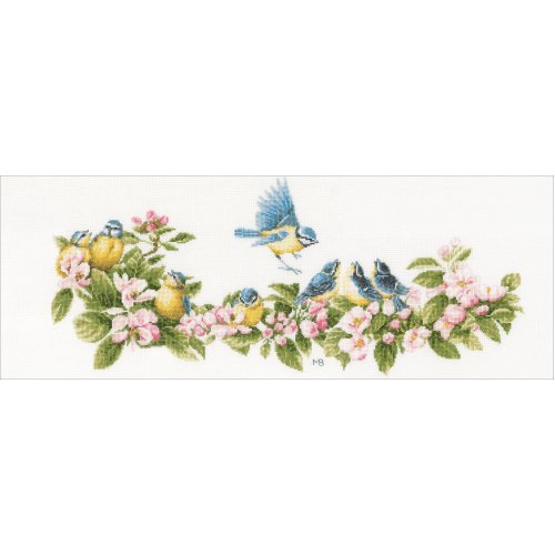 """LanArte Counted Cross Stitch Kit 24.4""""X10.4""""-Blue Tits & Blossoms (27 Count)"""