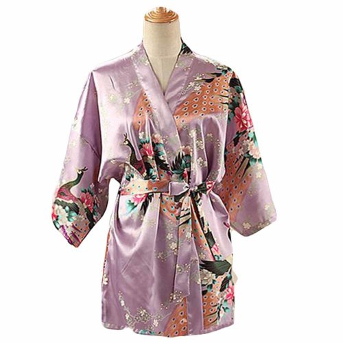 Lilac - Women s Silk-like Pajamas Short Bathrobe Kimono Robe Peacock  Blossoms on OnBuy b29772e9a