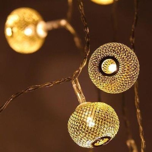 Gold Coloured Lantern - LED Fairy Lights - Battery Operated