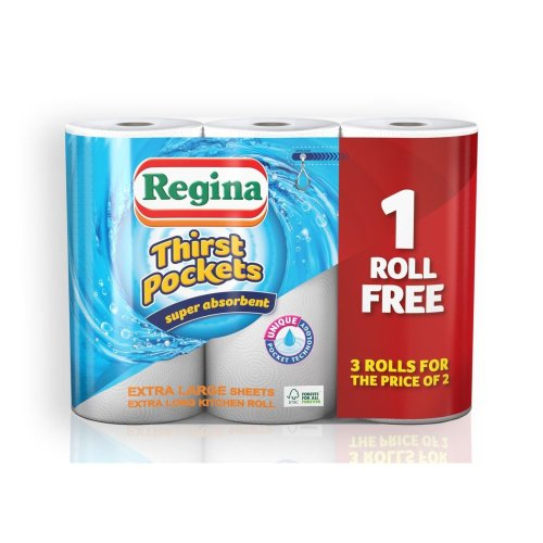 Regina Thirst Pockets Super Absorbent Kitchen Tissue Paper Towel 3 for 2 Rolls (12 Rolls)