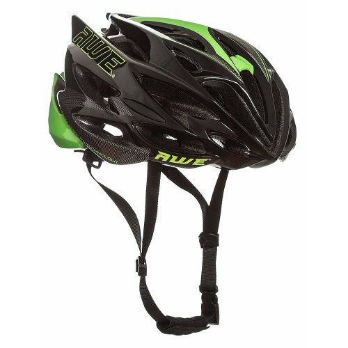 AWE® AWESpeed™ FREE 5 YEAR CRASH REPLACEMENT* In Mould Adult Mens Road Racing Cycling Helmet 56-58cm Black/Green/Carbon