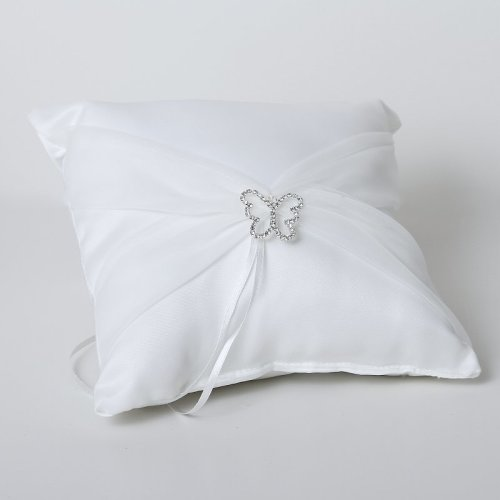 Butterfly Satin Ring Cushion With Organza Sash - White
