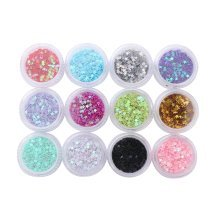 12 Boxes Makeup Glitter Sequins Shining Nail Art Sequins Face Glitter, Star