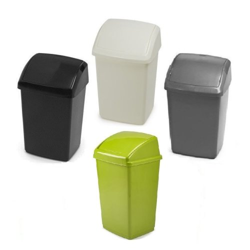Whitefurze Swing Top Plastic Bins Recycle Dustbin Home,Office,Kitchen