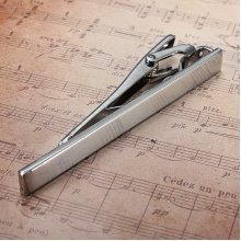 Men Metal Silver Tone Simple Practical Necktie Tie Bar Clasp Clip