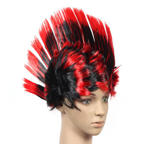 Halloween Costume Party Wigs MOHAWK Hair Punk Dress up, Black&Red
