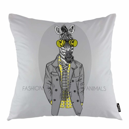 "Melyaxu Zebra Throw Pillow Cover Glasses Male Zebra Africa Animal Horse Decorative Square Pillow Case 18""X18"" Pillowcase Home Decor for Sofa Bedroom"
