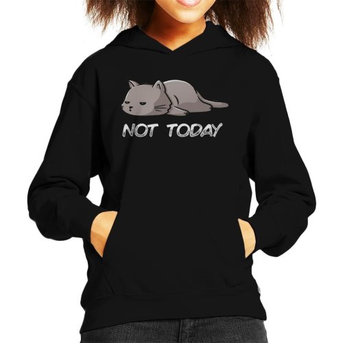 Lazy Not Today Cat Kid's Hooded Sweatshirt