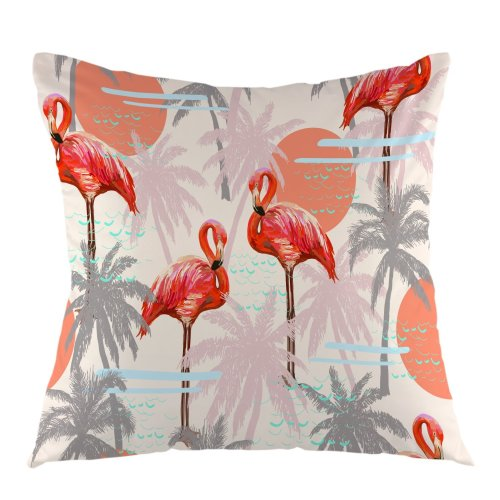 Melyaxu Flamingo with Palm Trees Square Pillow Case Cushion Cover for Home Sofa Couch Car Bedroom Living Room Decoration 18 x 18 Inch