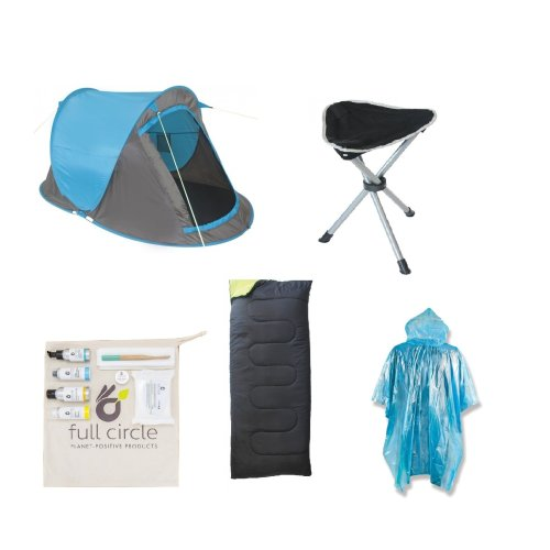 Essential Festival Pack (Fast Pitch Tent + Sleeping Bag + Camping Stool + Festival Travel Pack + Raincoat Poncho)