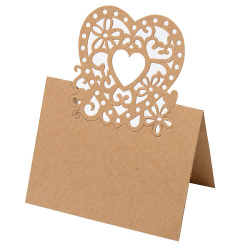 Pack of 10 Heart Laser Cut Design Wedding Place Card Kraft Brown