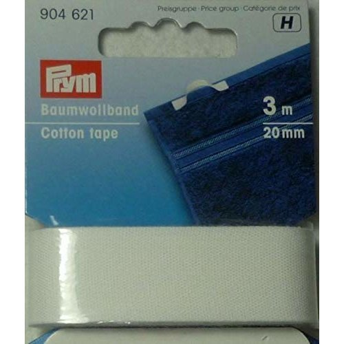 Prym 904621 3 m 20 mm Cotton Tape, White