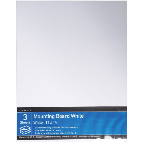 "Crescent White Mounting Board Value Pack 3/Pkg-11""X14"""