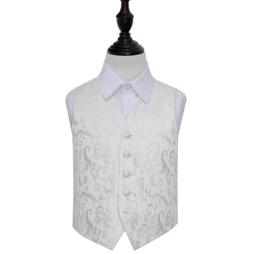 Ivory Floral Wedding Waistcoat for Boys 22'