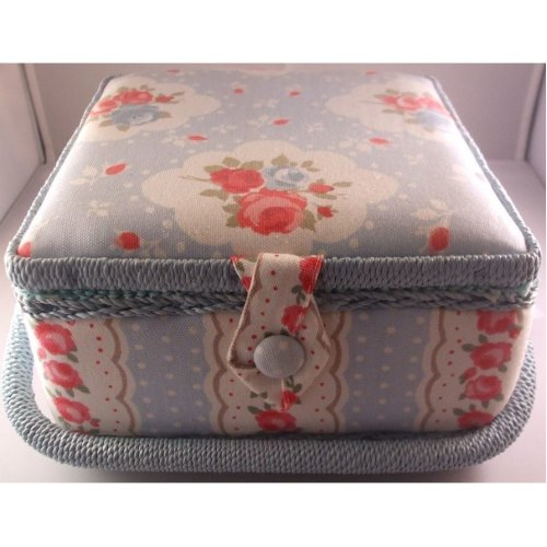 HobbyGift Small Floral Sewing Basket Floral on Blue