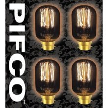 4 X PIFCO T45 40 Watt B22 Bayonet Vintage Tubular Retro Light Bulbs