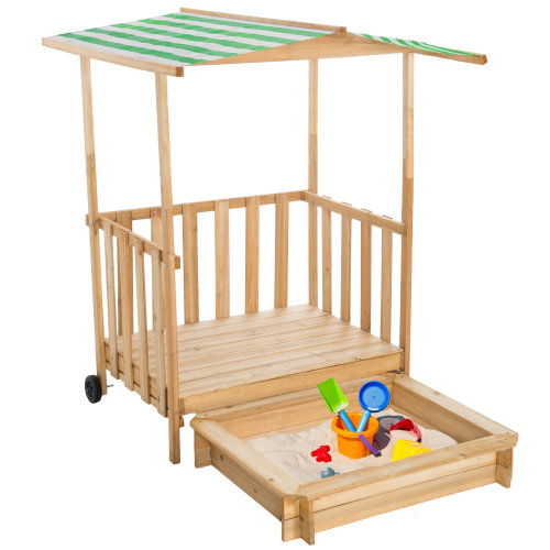 Sandpit with play deck and canopy green