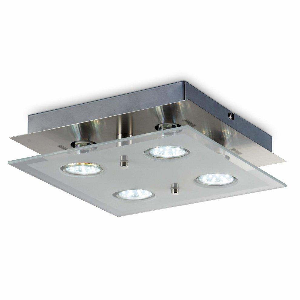 Square ceiling light i led light fitting i gu10 bulbs incl i eco friendly lighting i led glass lamp i 4 x 3 w 250 lumen i kitchen led iight i