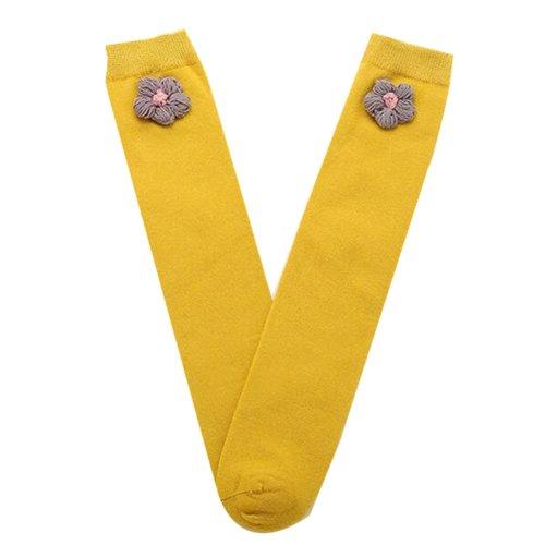 Baby Girl Stocking Knit Knee High Cotton Socks Princess Socks, Yellow