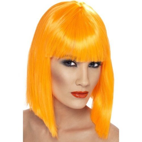 Short Neon Orange Ladies Blunt Glam Wig With Fringe