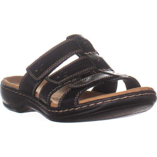 Clarks Leisa Spring Flat Slide Sandals, Black Leather, 7 UK