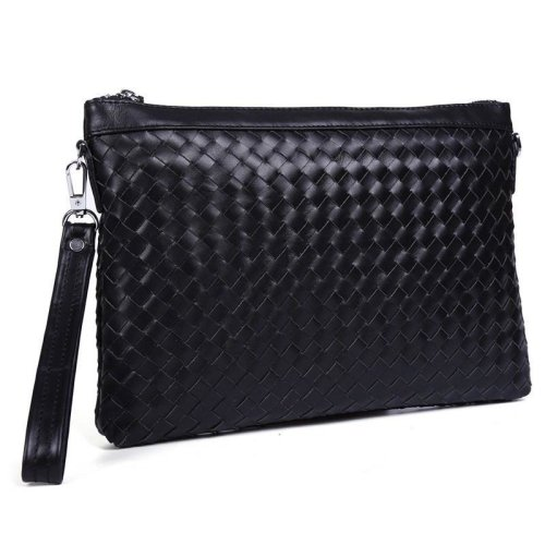 """Woven Black Leather 11"""" Clutch Bag"""