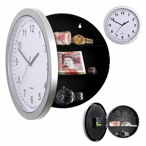 SILVER WALL CLOCK SAFE WITH SECRET STASH HIDDEN COMPARTMENTS MONEY JEWELLERY